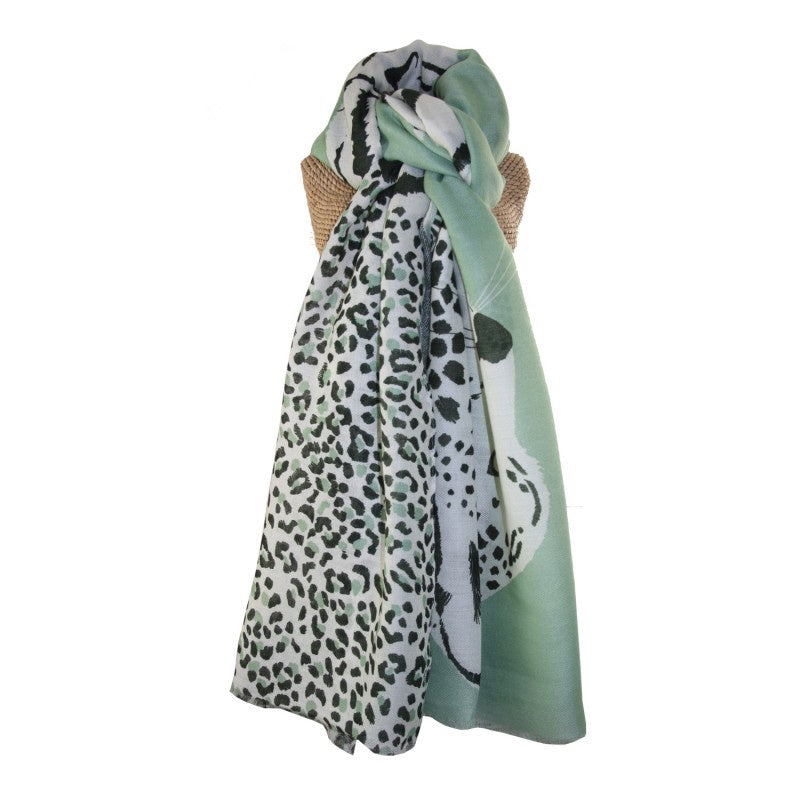 Lua Tiger & Leopard Scarf in Dusky Green