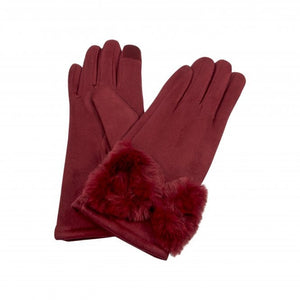 Load image into Gallery viewer, Park Lane Faux Fur Bow Gloves Burgundy