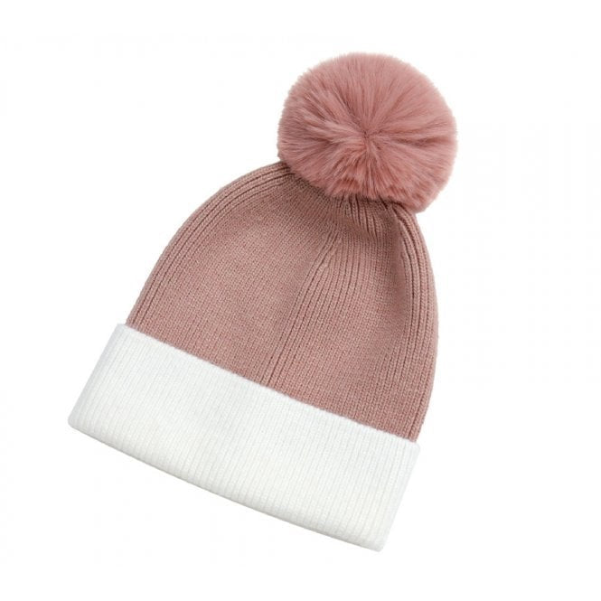 Park Lane Pink & White Hat With Pompom