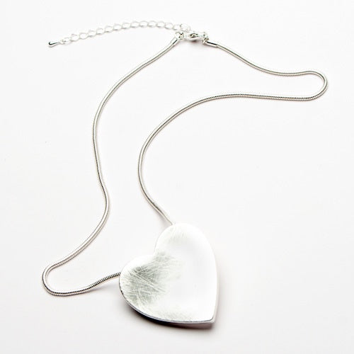 Eliza Gracious Brushed Silver Heart Single Strand Nacklace