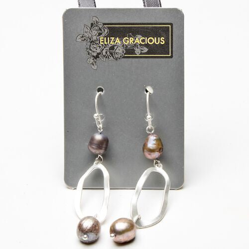 Eliza Gracious Hoop Dropper Earrings with Pearls