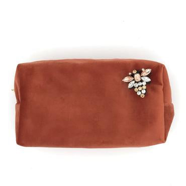 Sixton London Velvet Makeup Bag with Pin Coral