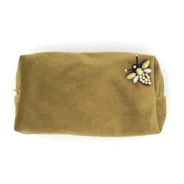 Sixton London Velvet Makeup Bag with Pin Gold