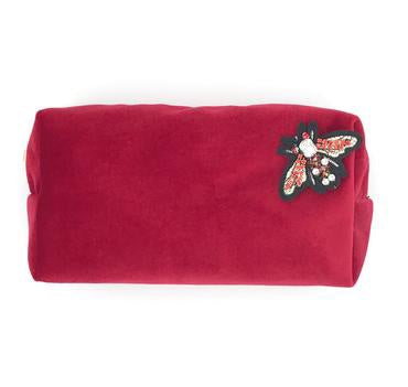 Sixton London Velvet Makeup Bag with Pin Berry
