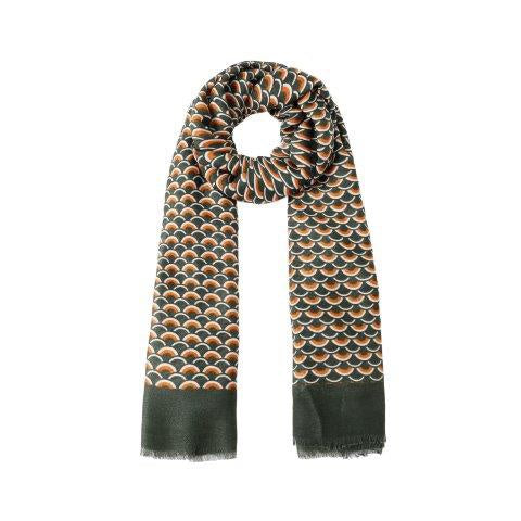 Vintage Geometry Scarf in Olive
