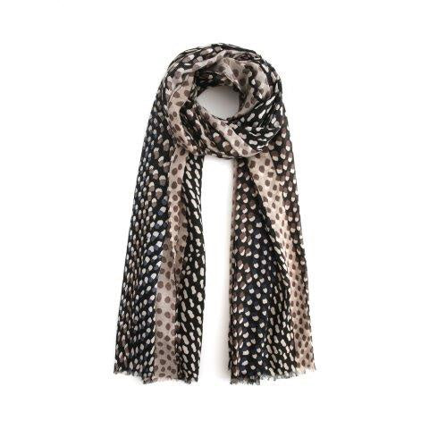 Two Tone Spots Black Grey Scarf