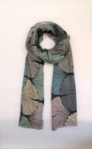 Gingko Print Scarf in Black