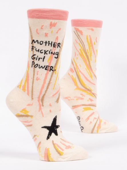 Blue Q Mother F***ing Girl Power Ladies Crew Socks