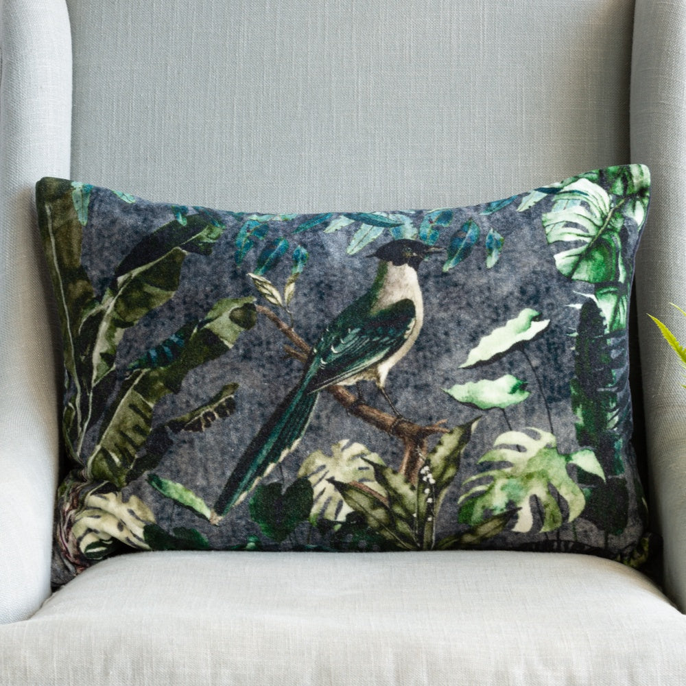 Grand Illusions Velvet Cushion Forest Bird