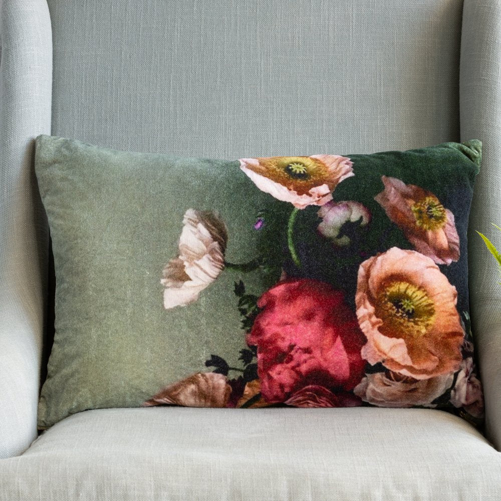 Grand Illusions Velvet Cushion Poppies