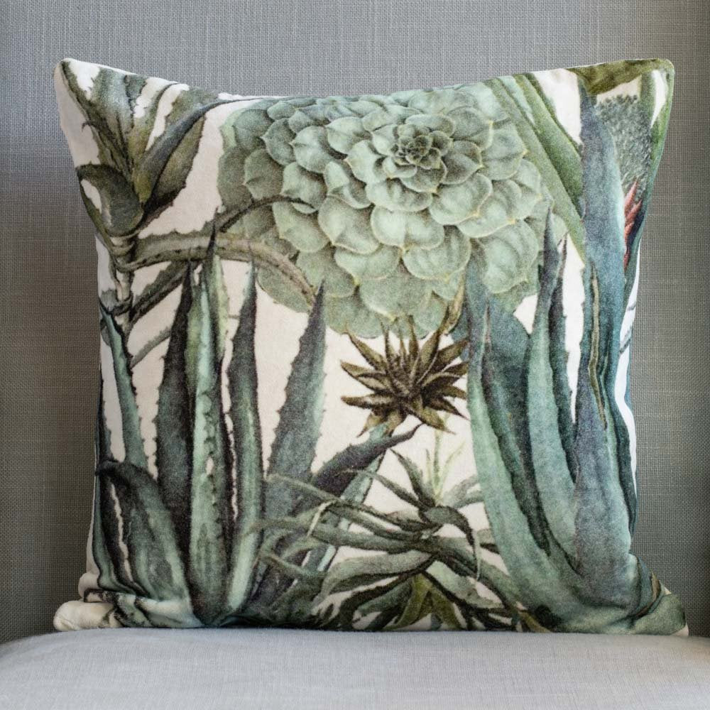 Grand Illusions Velvet Cushion Succulents
