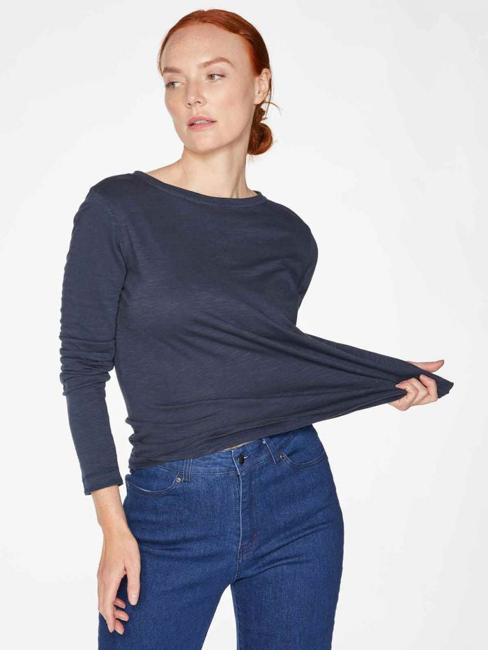 Thought Fairtrade Organic Cotton Long Sleeve Jersey Top Navy