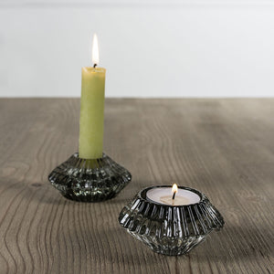 Grand Illusions Glass Candleholder Duo Lt Green