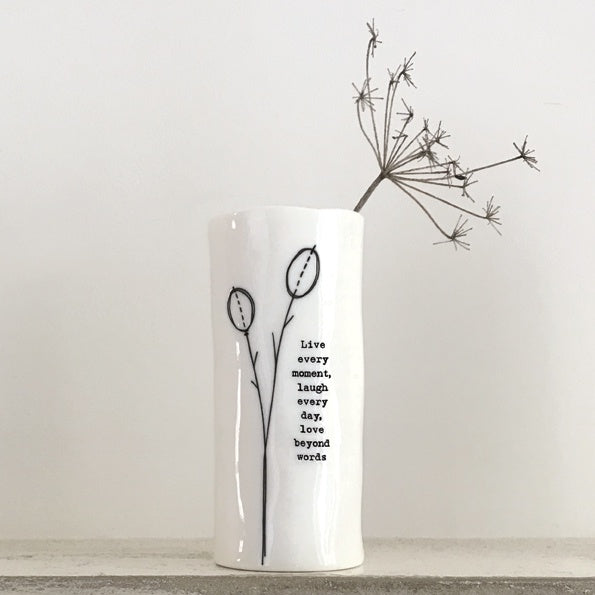 East of India Med Porcelain Vase - Live Every Moment