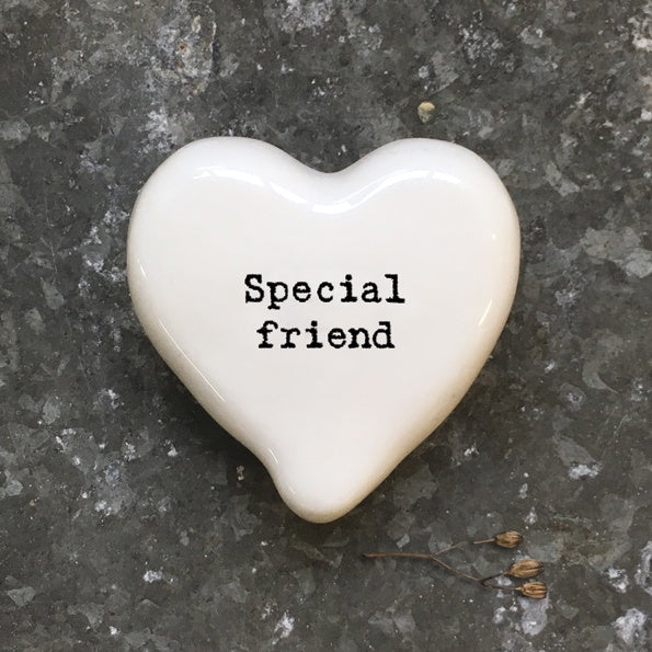 East of India White Heart Token Special Friend