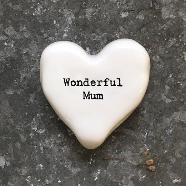 East of India White Heart Token Wonderful Mum