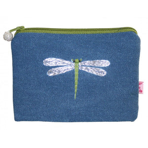 Lua Embroidered Dragonfly Purse in Petrol
