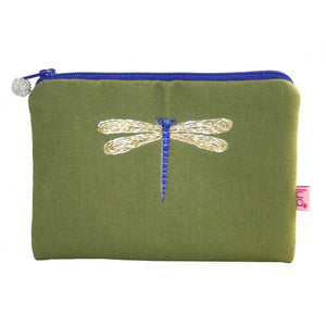 Lua Embroidered Dragonfly Purse in Olive