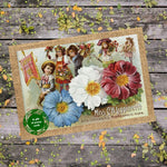 Seeds With Love Vintage Pansy Landscape Card with Seeds