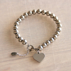 Bazou Silver XL Heart and Beaded Bracelet