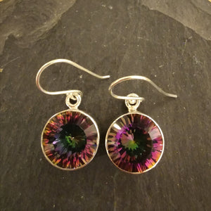 Mystic Topaz Round Cut Stone Sterling Silver Earrings