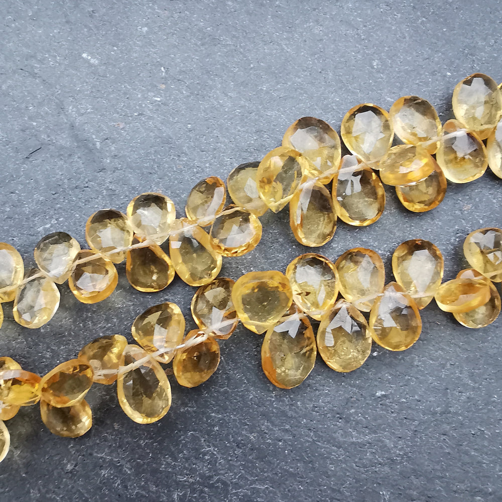 Citrine Faceted Pear Briolette Beads (set of 5)