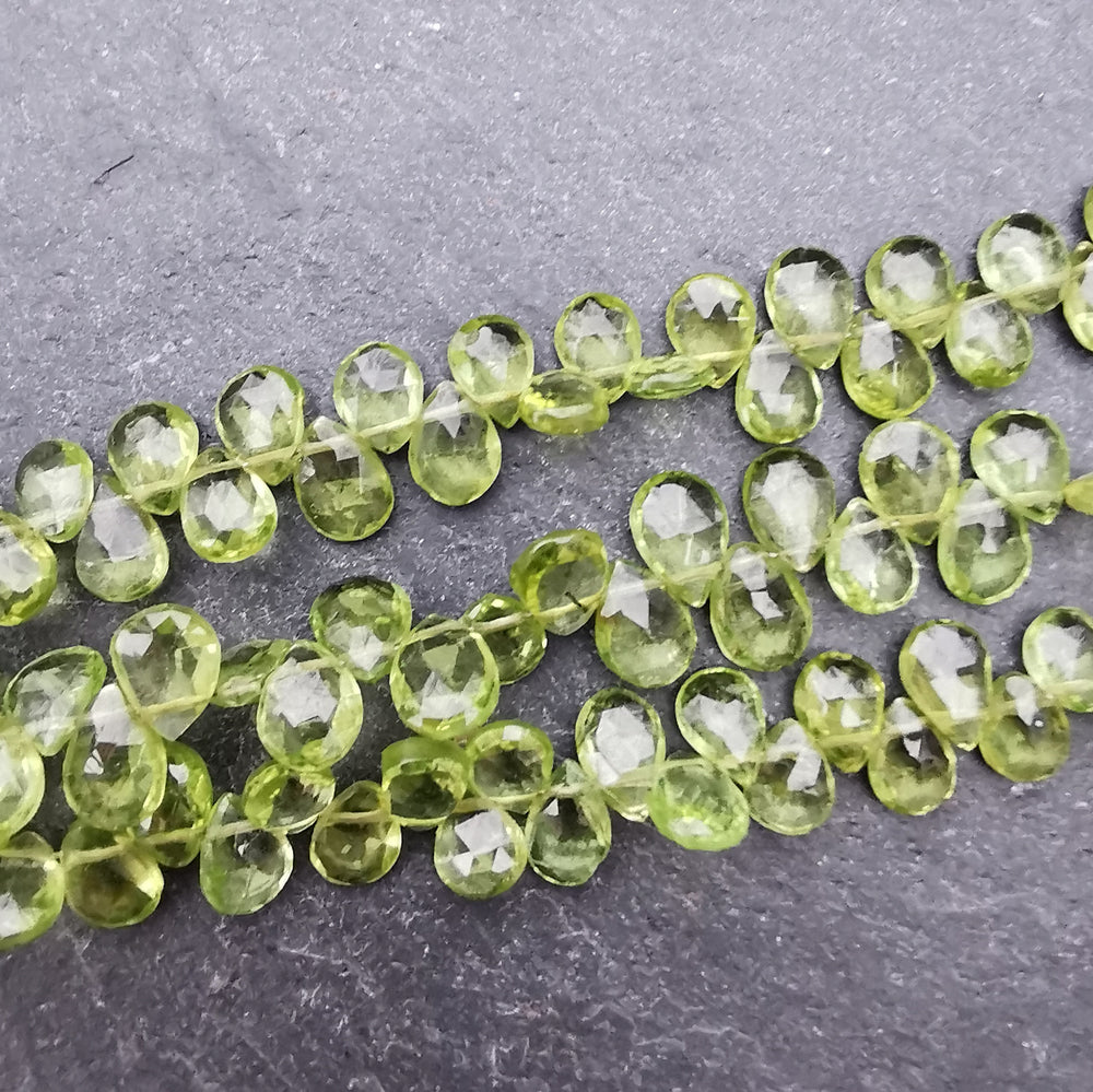Peridot Faceted Pear Briolette Beads AAA Grade (Set of 5)
