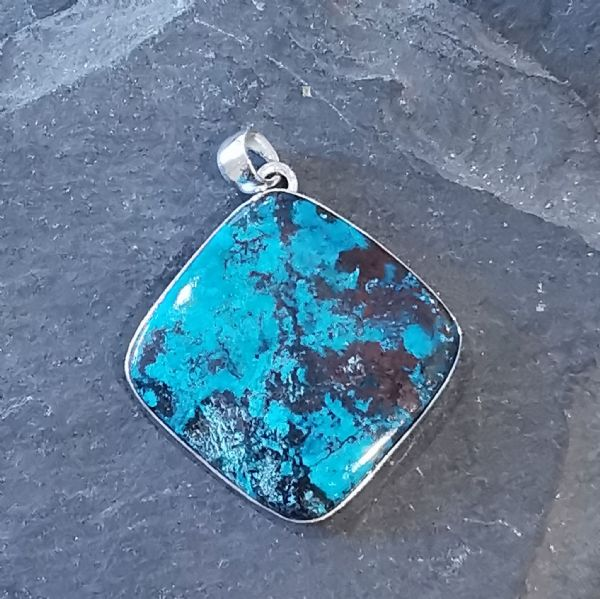 Load image into Gallery viewer, Azurite Square Sterling Silver Pendant