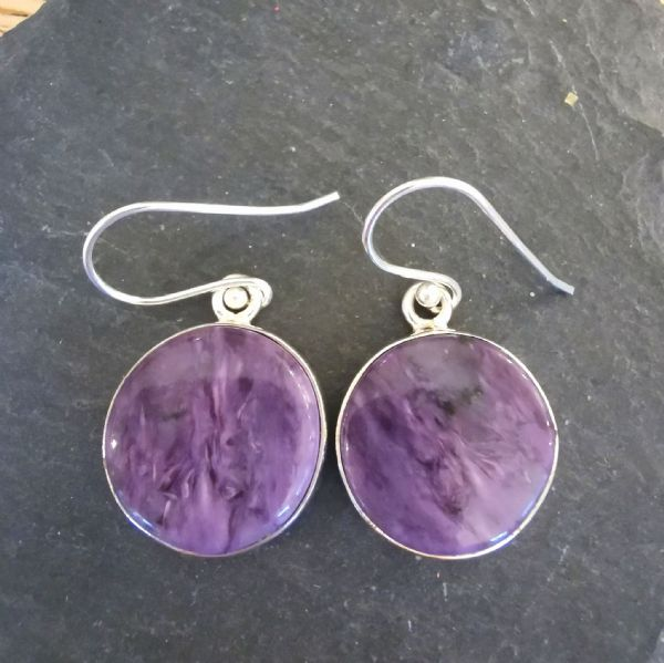 Charoite Round Sterling Silver Earrings
