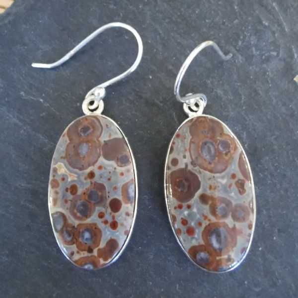 Leopardskin Jasper Oval Sterling Silver Earrings