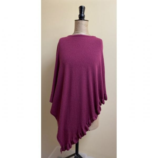Park Lane Lara Cashmere Mix Poncho in Plum