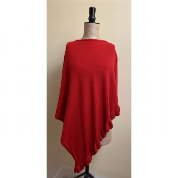 Park Lane Lara Cashmere Mix Poncho in Red