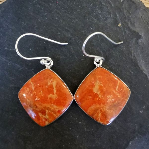 Sponge Coral Square Sterling Silver Earrings