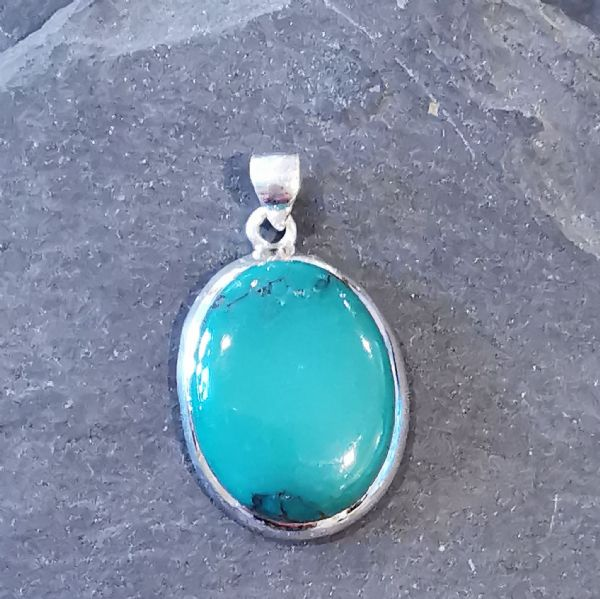 Load image into Gallery viewer, Turquoise Oval Sterling Silver Pendant