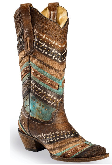 Corral Women's Studded Brown & Turquoise Embroidery Boot