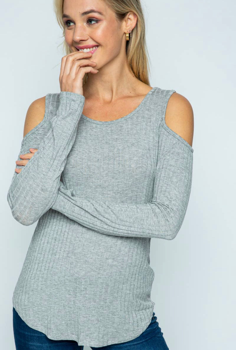 Knit Rib Cold Shoulder Solid Top
