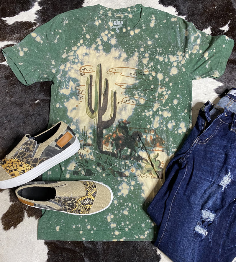 Cactus And Cowboy Matchbook Green Bleached Tee