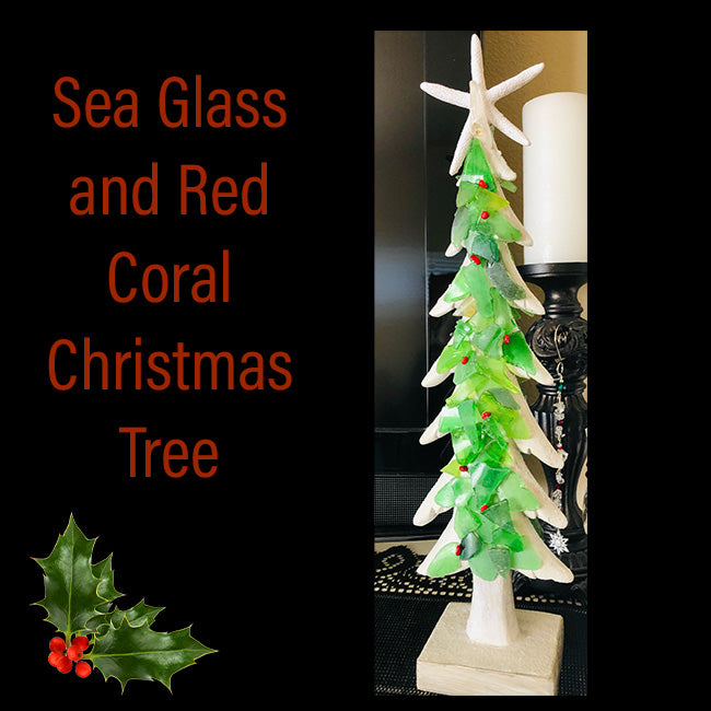 Sea Glass & Red Coral Christmas Tree