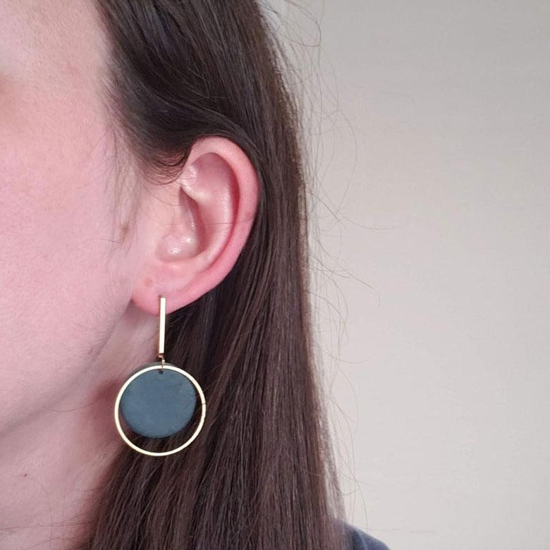 Clay and Brass Earrings