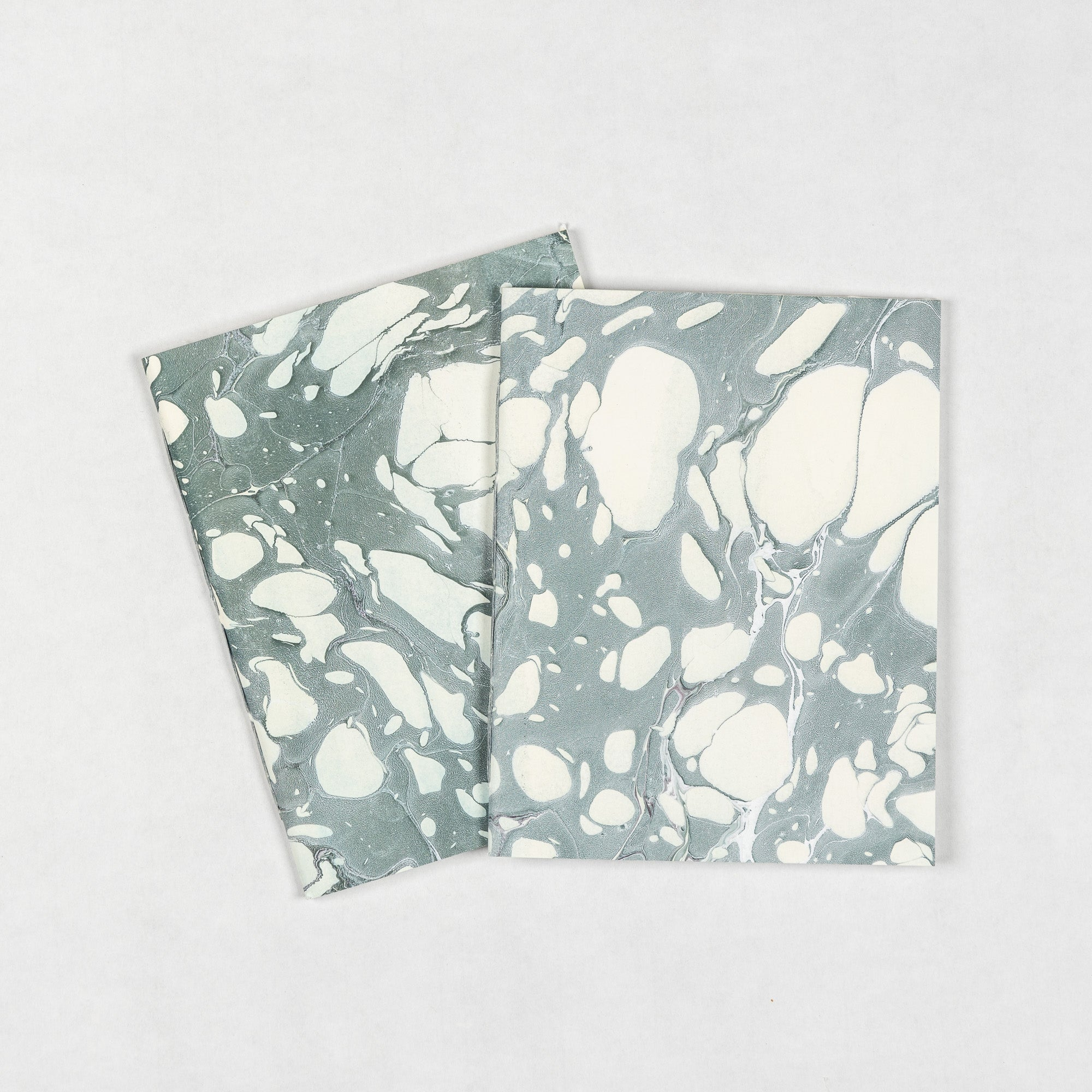 Small Marbled Notebook - olive + pale blue