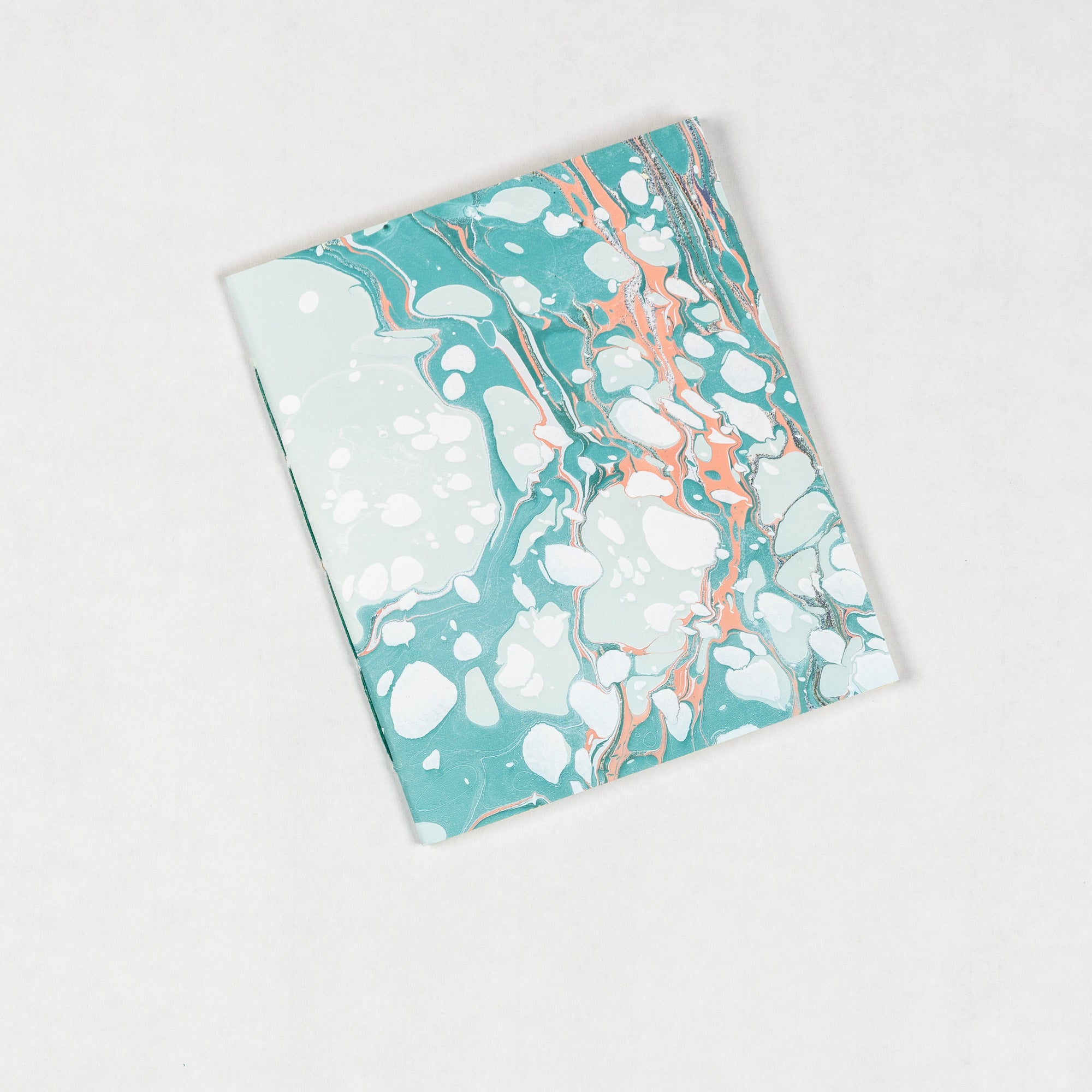 Small Marbled Notebook - aqua + coral