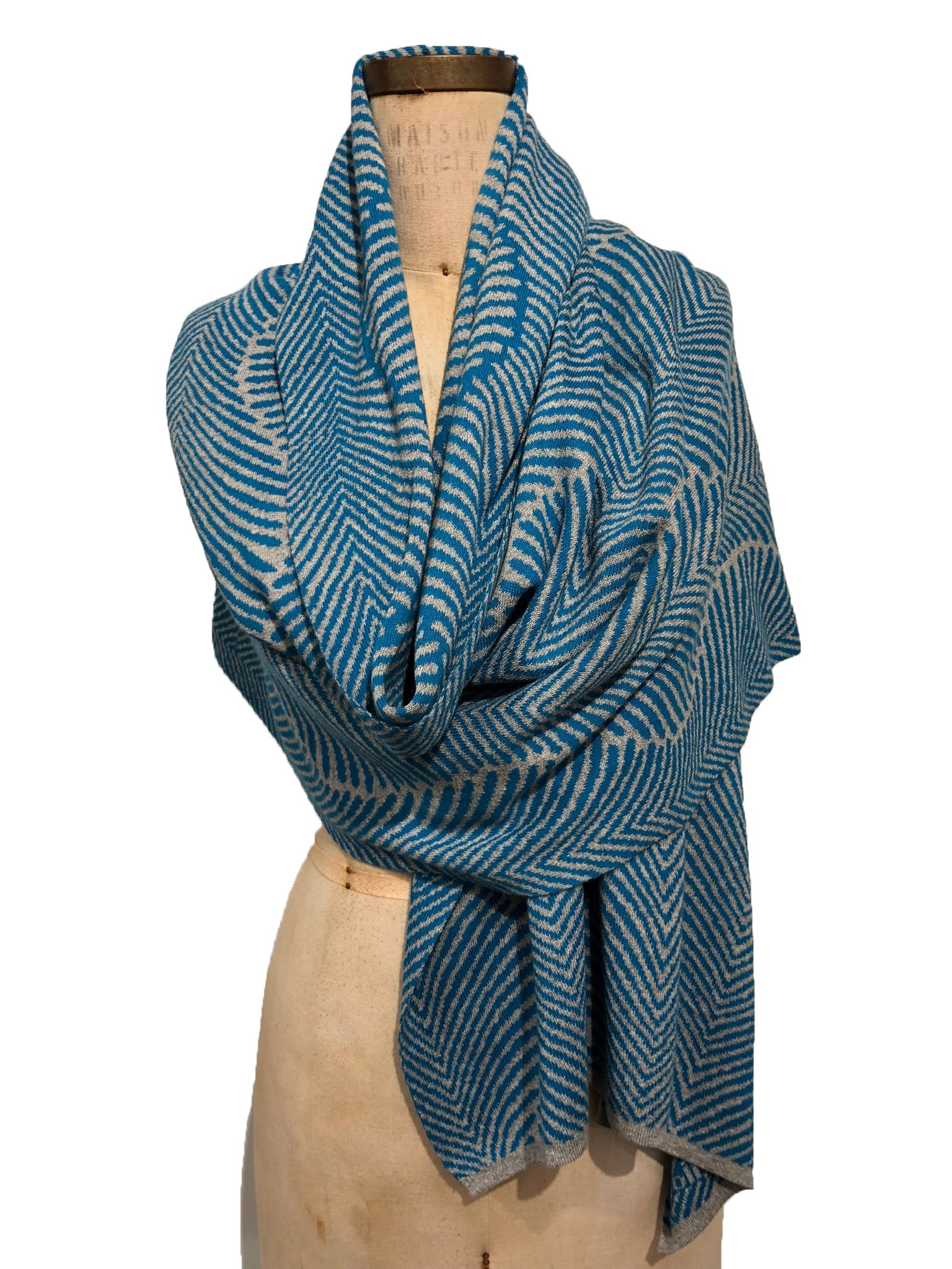 Forest Fern Wrap -- 100% Italian Spun Cotton -- Turquoise / Light Grey
