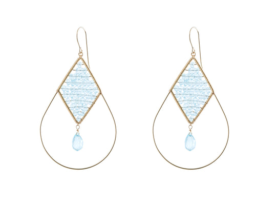Dalli Earrings | 925 Sterling Silver | 14K Gold Filled | Blue Topaz | Tear Drop Shaped Filled with Blue Topaz Stone  | Harper Lane Jewellery