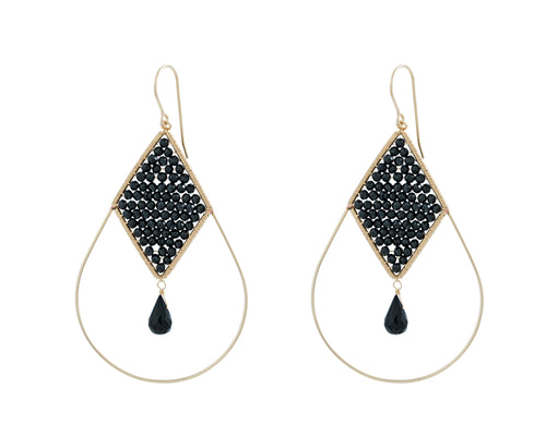 Catherine Earrings | 14K Gold Filled | Black Spinel | Oval Shaped Black Earrings | Harper Lane Jewellery