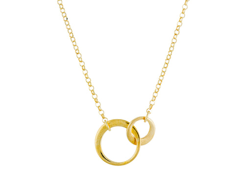 Monroe Necklace | 925 Sterling Silver | 1 Micron 24K Yellow Gold Electroplating | Round Rings Locked with Each Other Handcuffs Inspired | Harper Lane Jewellery