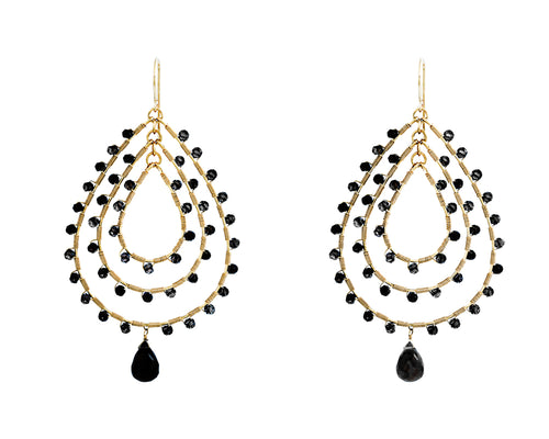 Jonzie Earrings | 14k Gold Filled | black Spinel | Black Oval Shaped Earings | Harper Lane Jewellery