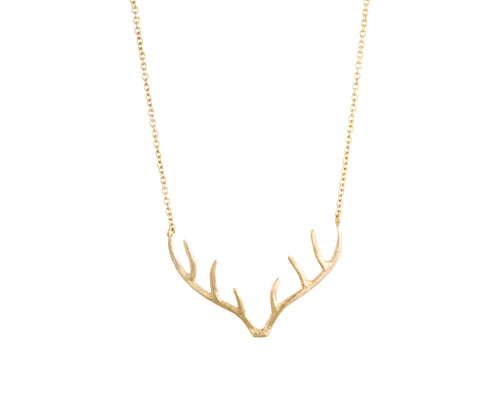 Rayner Necklace | 925 Sterling Silver | 1 Micron 24K Yellow Gold Electroplating | Dear Horn Pendant | Harper Lane Jewellery