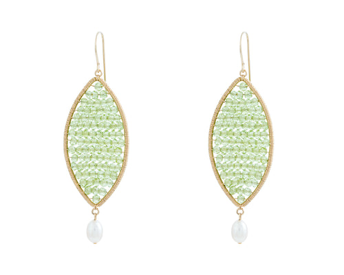 Issy Earrings | 14K Gold Filled | Peridot | Oval Shape Filled with Peridot Stones | Harper Lane Jewellery