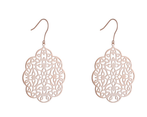 Shiloh Earrings | 925 Sterling Silver | 1 Micron 24k Rose Gold Electroplating | Rose Gold Mandala Earrings | Harper Lane Jewellery