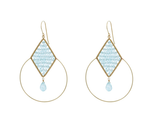 Goulding Earrings | 925 Sterling Silver | 14K Gold Filled | Blue Topaz | Diamond Shape Filled with Stones | Harper Lane Jewellery